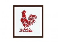 Rustic Rooster, Redwork, Cross Stitch Pattern , PDF beginner cross stitch, Retro conted graph, No.048