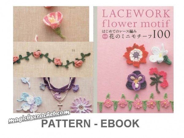 PDF crochet pattern, Japanese eBook, Crochet flower pattern, Crochet motif, No.001