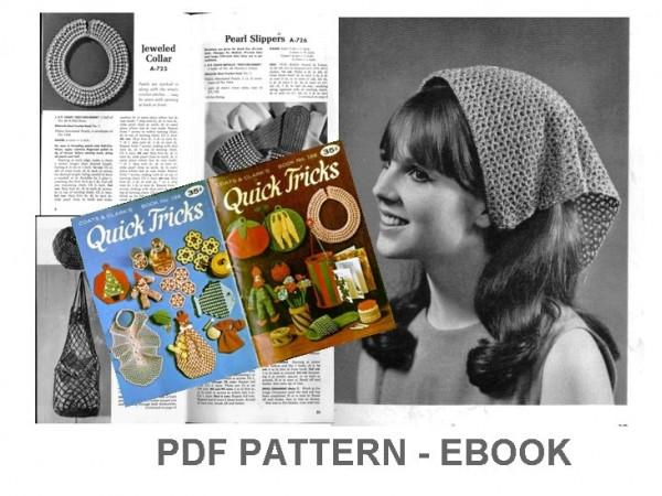 PDF Crochet Patterns, Vinatage Crochet eBook, Pot holders, coasters, purse, placemat, no.020