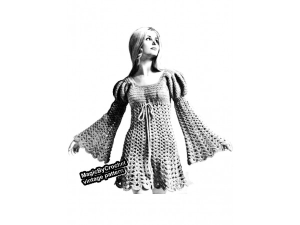 Vintage Juliet Dress Pattern, Crochet Pattern,PDF, Boho Dress, Hippie Dress, no.010