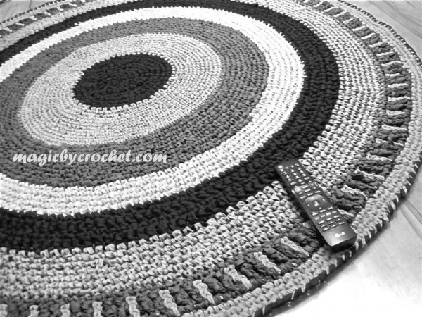 Round rug -  Rag rug- Nursery rug -Handmade rug- Home decor - 5 ft Round carpet, no.002