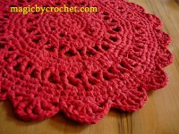 Round Rag Rug Red Doily Rug 27 inches Cotton Crochet Rug Ready to ship, no.005