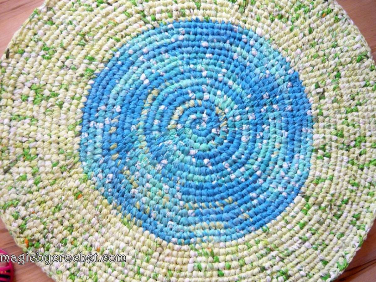 Rag Rug, Crochet Rug, Handmade Rug, Nursery Rug, Kitchen Rug, Round Rug, 99 cm
