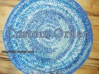 Update order - Custom order - Blue Rag Rug - Nursery Rug - Kitchen Rug - Handmade Rug