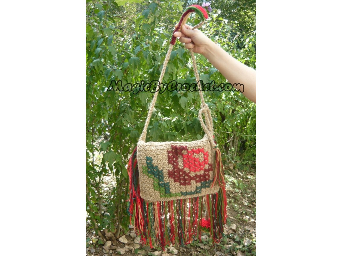 Bohemian Bag, Messenger Jute Bag, Boho Bag, Crochet Bag, Cross Body Bag, Hippie bag