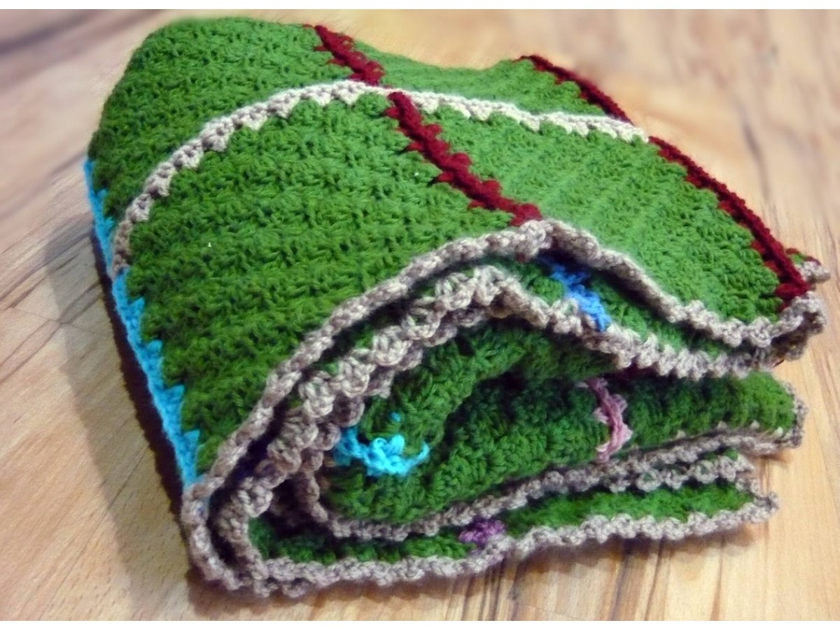 Crocheted Blanket, Warm blanket, Granny Square, Sofa Throw, Nap blanket, C2C, vintage style