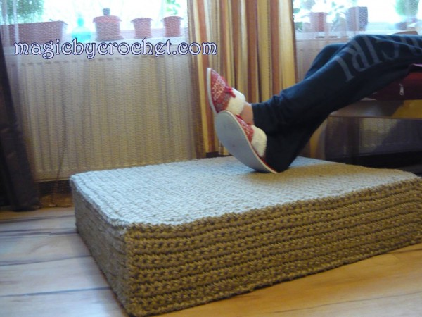 Large Jute Floor Cushion, Floor Seating Cushion, Natural Jute Floor Cushion, Jute Footstool, Jute Ottoman