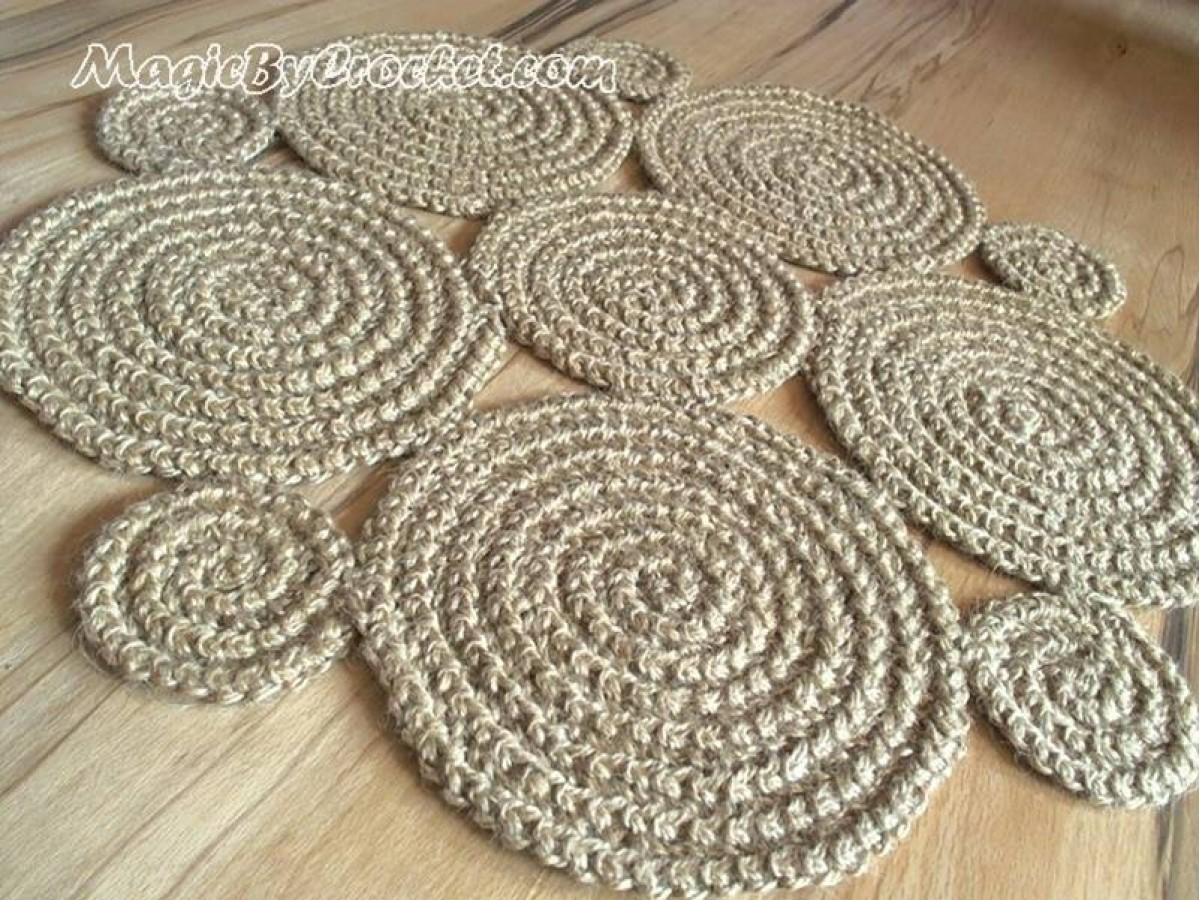 Flower Crochet Rug , Natural Jute Rug / Handmade Rug , Small Area Rug, no.003