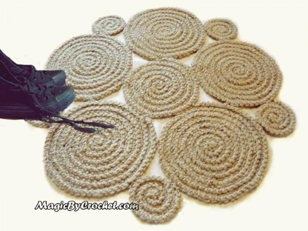 Flower Crochet Rug , Natural Jute Rug / Handmade Rug , Small Area Rug, no.003
