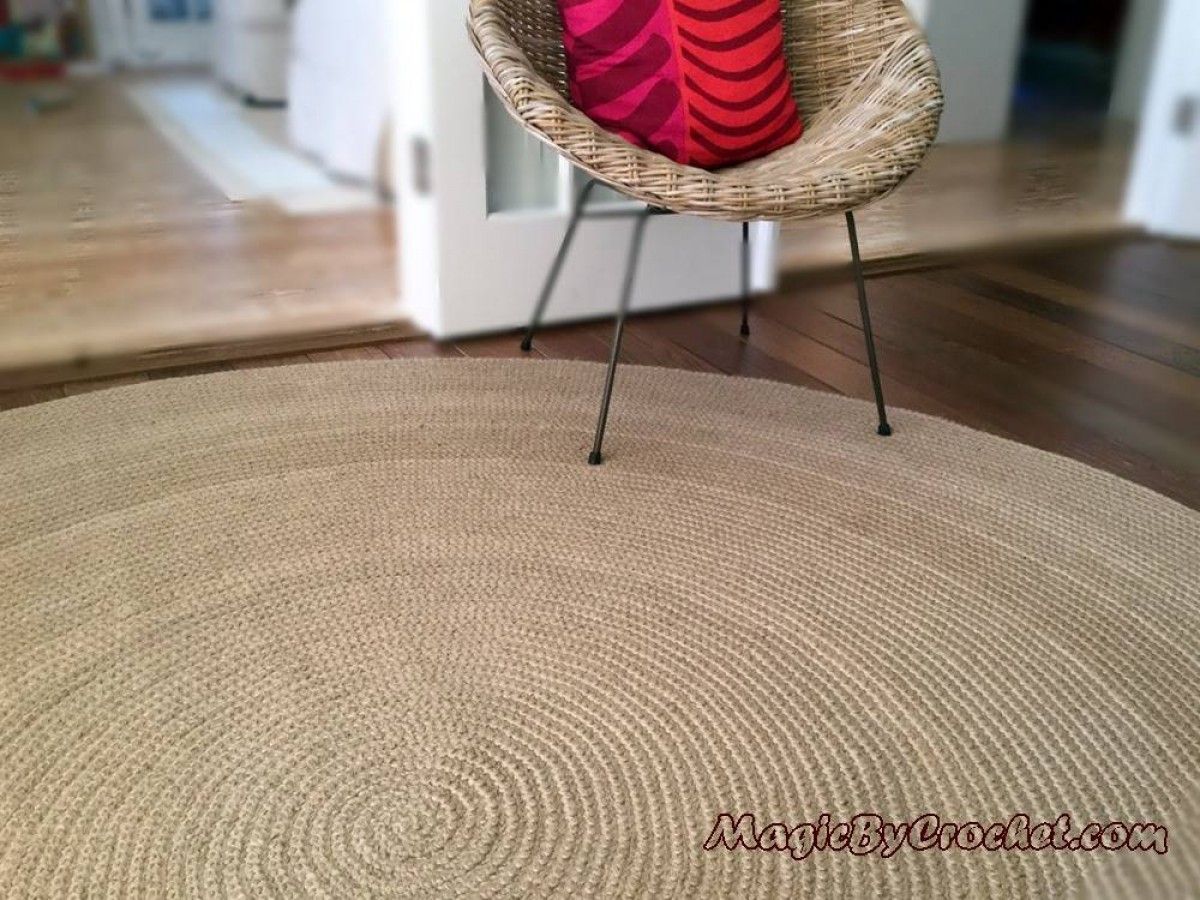 Florida Rug, 8 ft, Premium Jute, Area Rug, Large Round Rug, Braided rug, Modern Rug, no.051