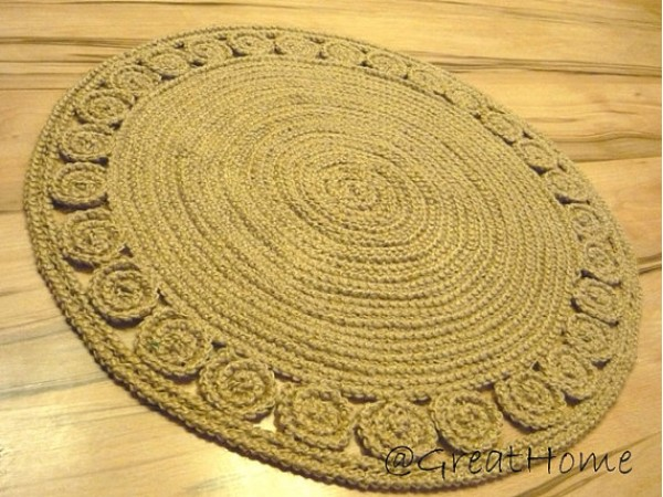 Exclusive Jute Rug, Retro Style Rug, Braided style Rug, Floor decor, 32 inches (80cm), no.005