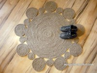 Crochet Bohemian Rug, Flower Rug, Natural Jute Rug, Handmade, 40 inches (100cm ), no.006