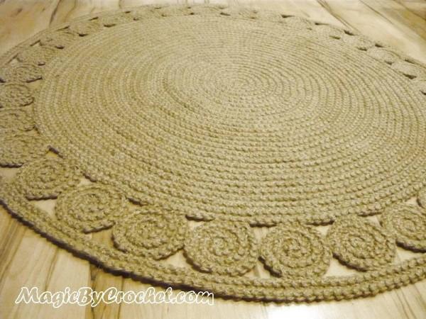 Natural Rug, Round Jute Rug, 4 ft ( 120 cm ), Hand Crochet Rug, Braided Rug, no.028