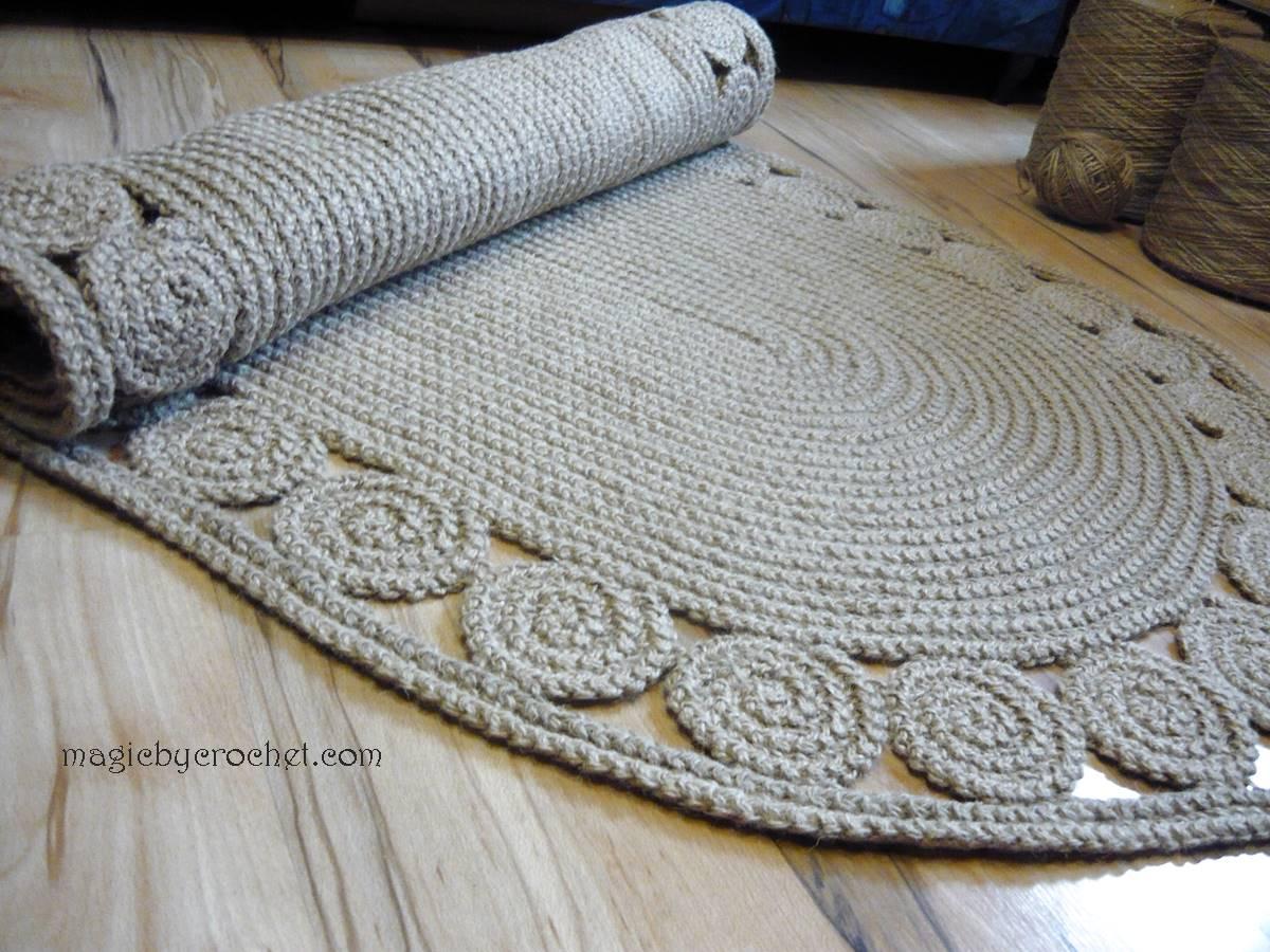 Hallway Rug 9 feet rug, Twine Crochet rug, Long Runner rug, Jute runner rug, no.030