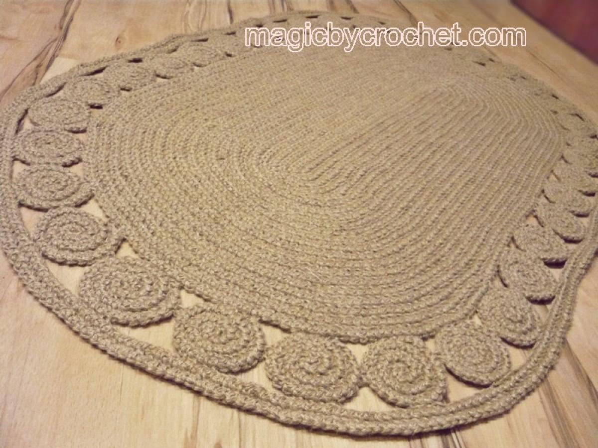Oval Unique decorative jute rug, 5x3 ft , Crochet rug, Braided Rug, Natural fiber Rug , no.031