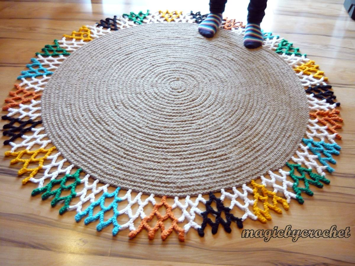 Colorful Area Rug Round Jute