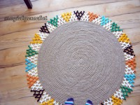 Colorful Area Rug, Round rug, Jute rug, You choose colors, Handcrafted rug, no.101