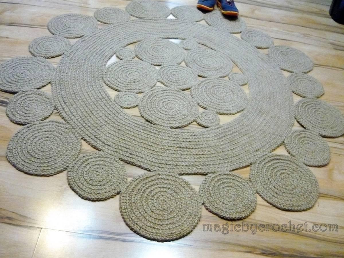 Bohemian rug, Jute Rug, 140 cm, Handmade, Crochet rug, Modern rug, no.127