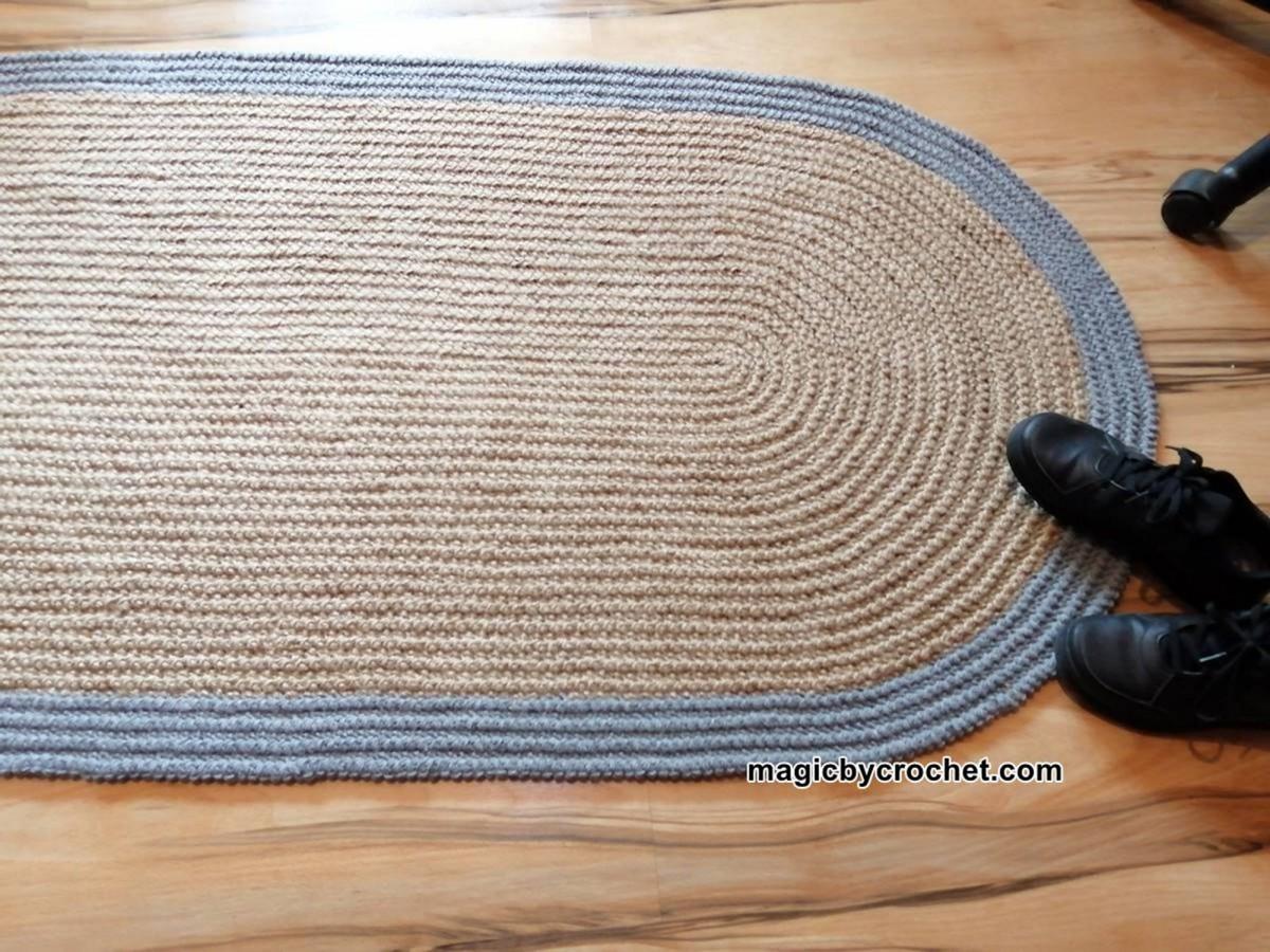 Oval rug, Jute rug, Crochet, Handmade rug, 160 x 80 cm, no.301