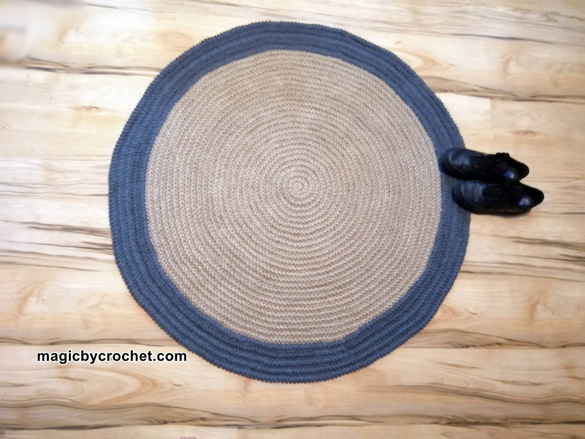 Charcoal grey rug, Modern Rug, Round rug, Jute rug, 100 cm rug, Ready to ship, Free shipping,no.302