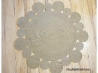 Large Playful Round Rug, 6 ft ( 182 cm ), Natural jute Rug, no.027