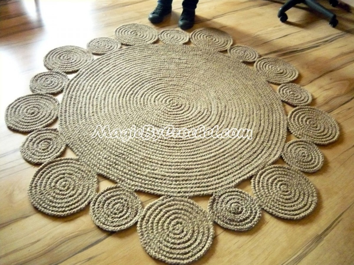 Playful rug, Area rug, Braided rug, Jute Rug, Handmade rug, 5 ft ( 150 cm ), no.001