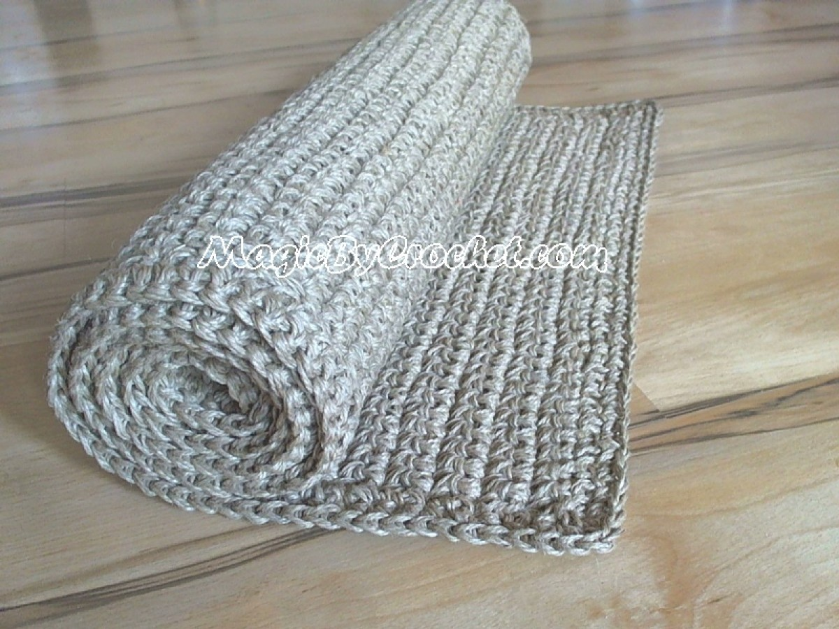 Natural Hallway Runner Rug, Rug 7x2 feet Handmade, Natural Jute Rug, no.009