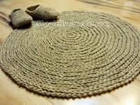 Cottage Rug, Round Area Rug, Handmade, Natural, Jute rug, no.012