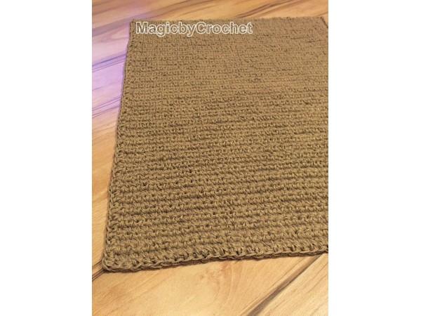 Large Doormat, Crochet jute Door Rug, Handmade Carpet, 4 x 2 ft, no.021