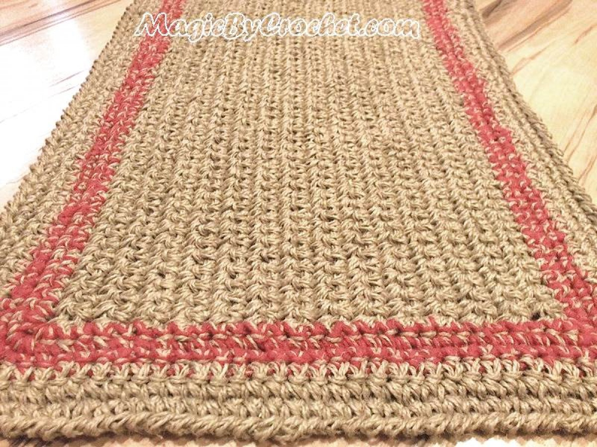 Large doormat, Simple Jute Rug, Custom color border, Crochet  door rug, no.026