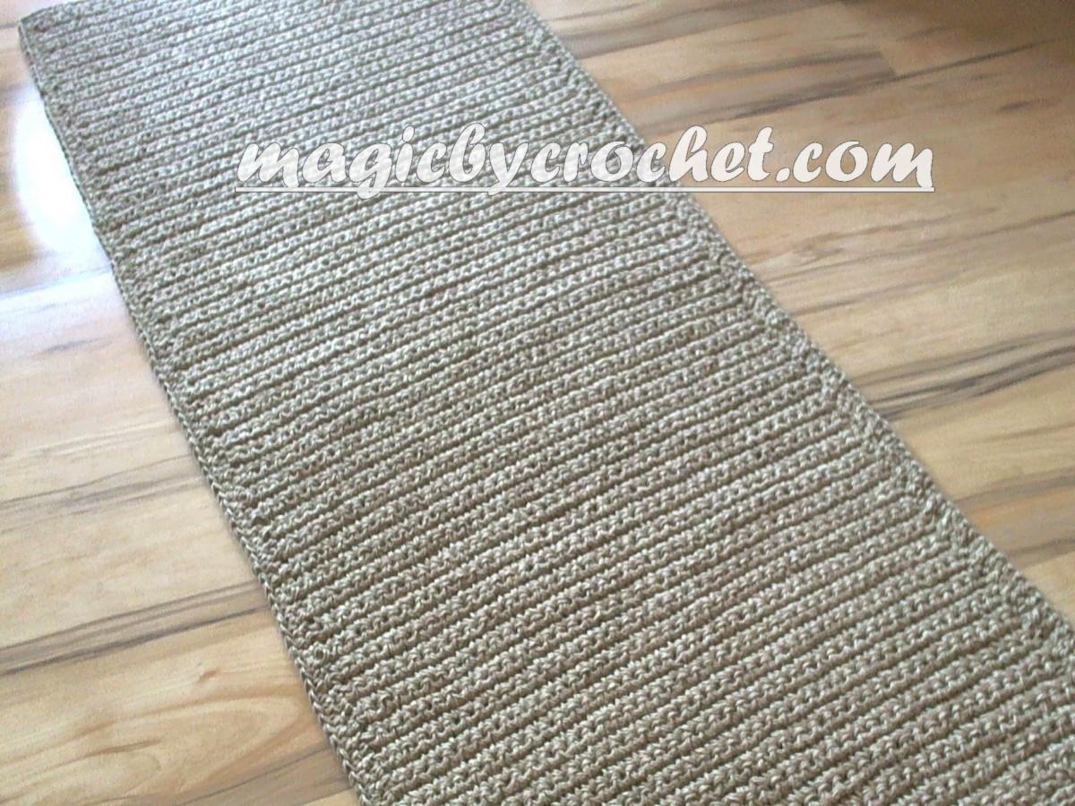 Extra Long Hallway Runner Rug Handmade Jute Crochet Rug No 032