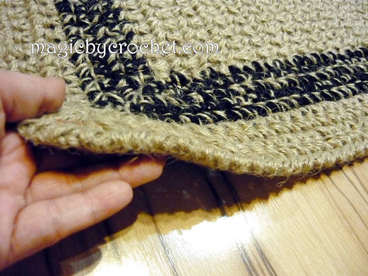Natural fiber Rug, Jute Rug, Area jute rug, Crochet patio rug, Handmade, 120 cm, Custom color border, no.061