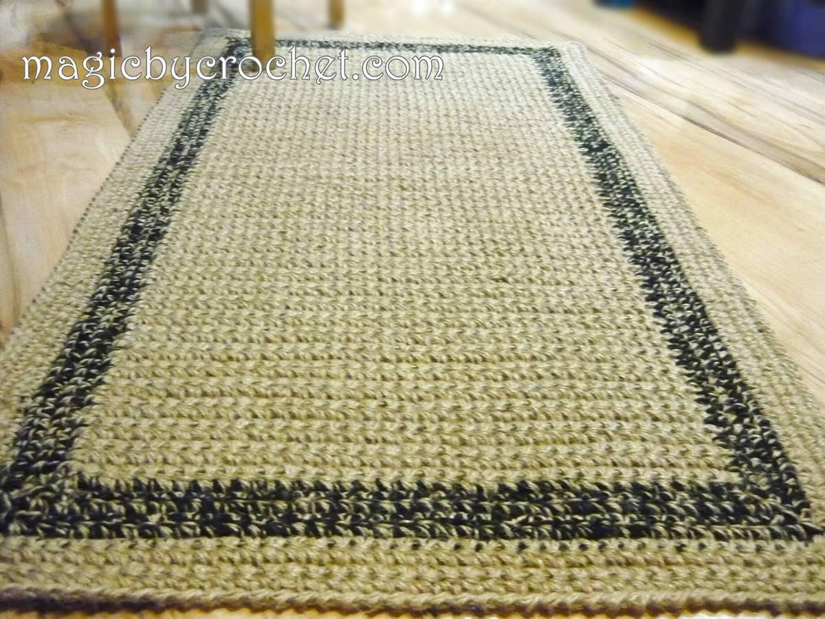 Natural fiber Rug, Jute Rug, Area jute rug, Crochet patio rug, Handmade, 120 cm, Custom color border, no.061