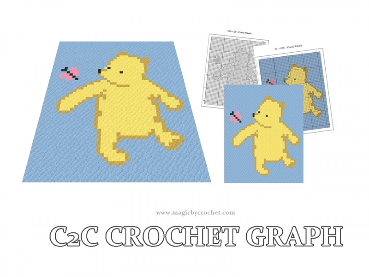 Small Baby Blanket, C2C crochet Graph, Classic Winnie the Pooh PDF Chart, Instant Download, No.011