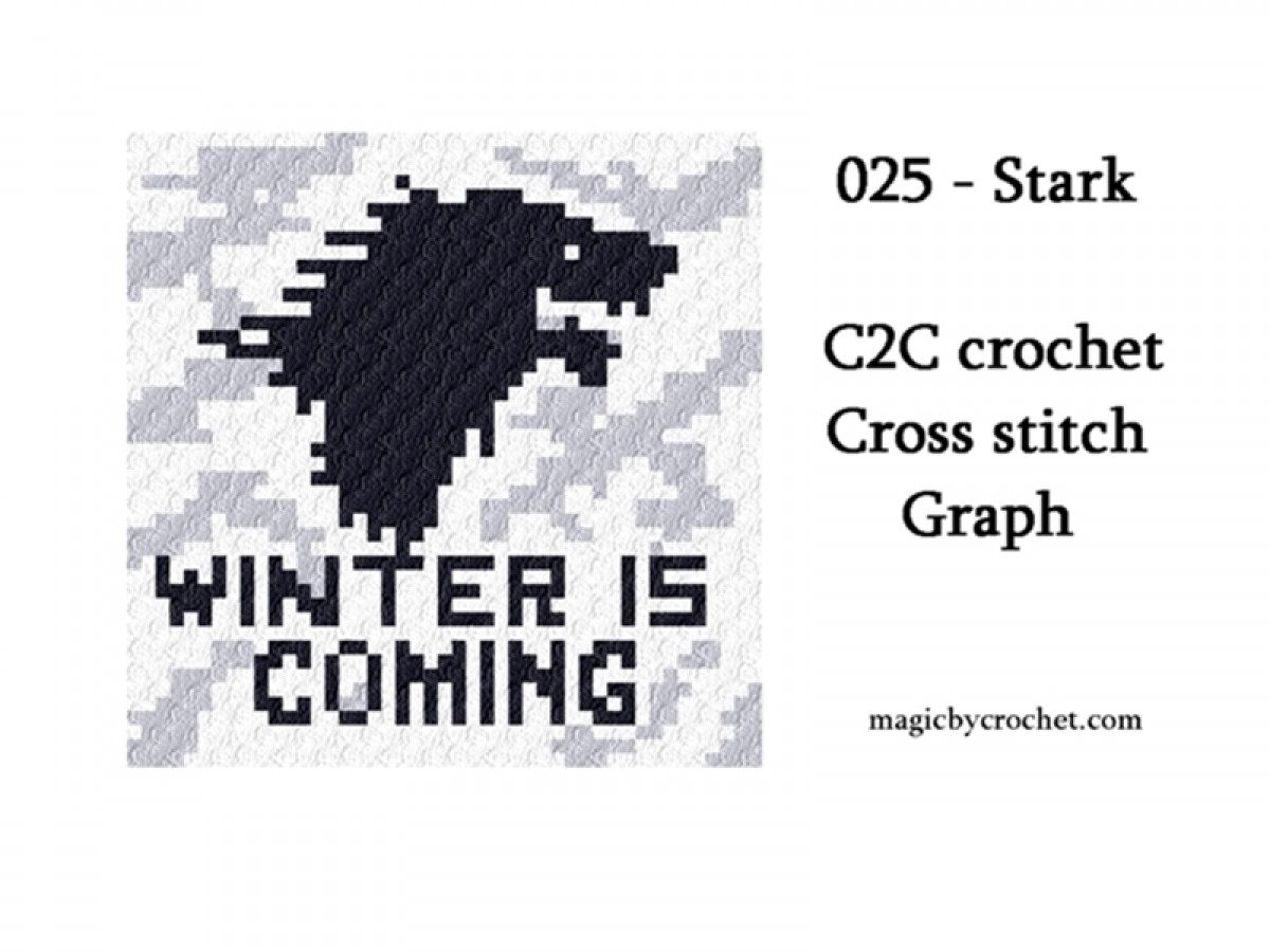 C2C crochet Graph, PDF instant download, Stark, Baby size blanket , No.025