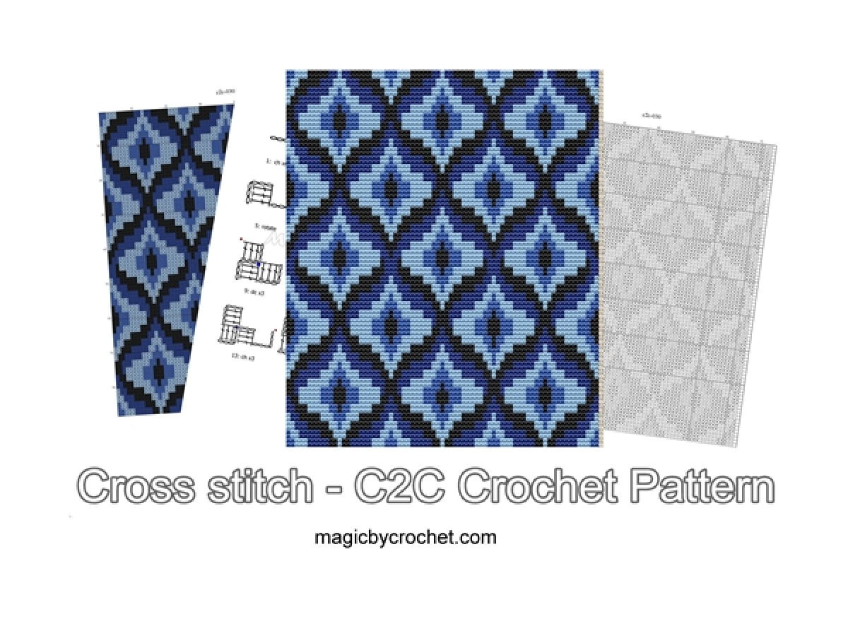 Bargello blanket, C2C crochet Graph, PDF Chart, Instant Download, No.030