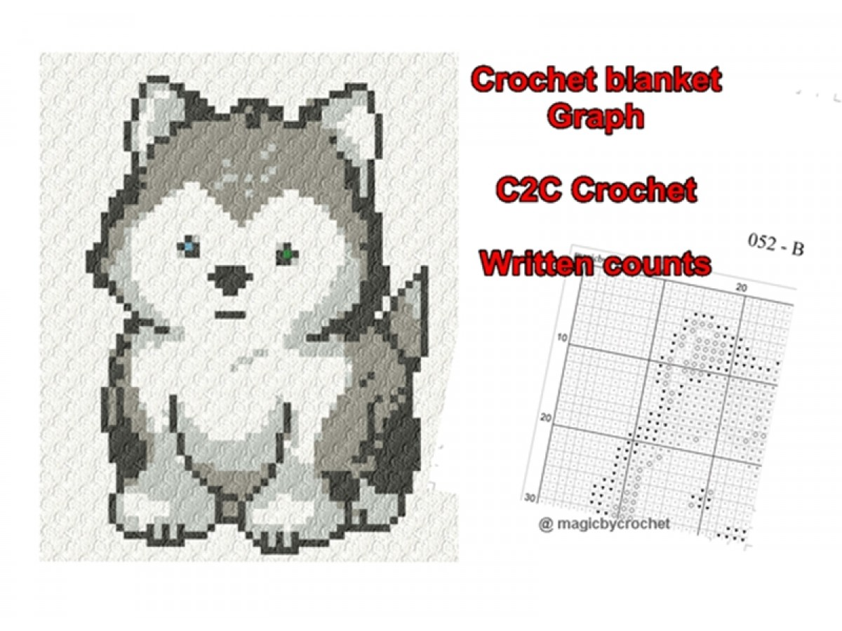 C2C crochet blanket graph, Written counts, PDF download, C2C pattern, Baby Husky, No.052