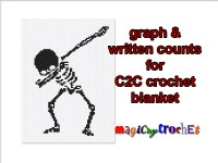 Single bed blanket, C2C crochet graph, Written counts, PDF download, Corner to corner pattern, Dabbing skeleton, No.054