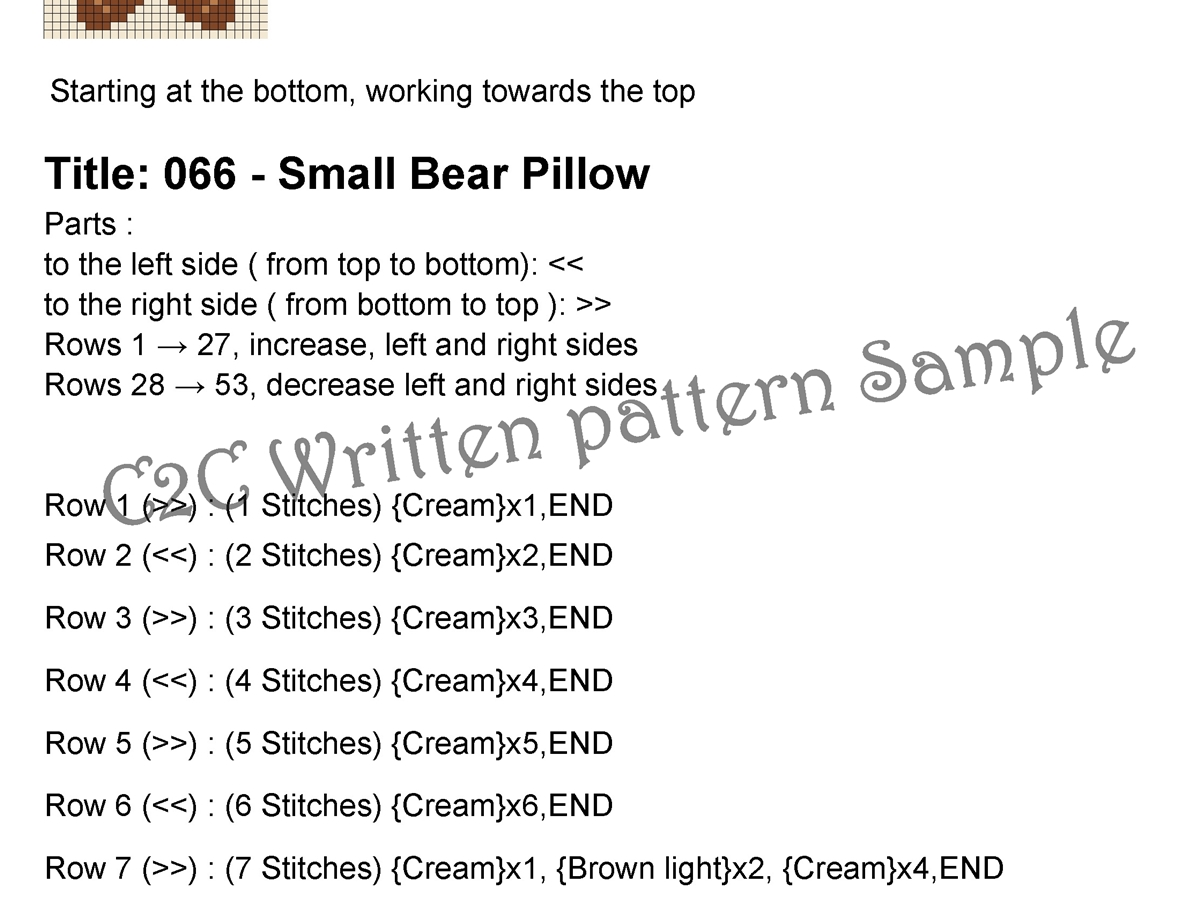 Small Bear Pillow, C2C , Crib blanket, C2C crochet pattern, PDF download, no.066