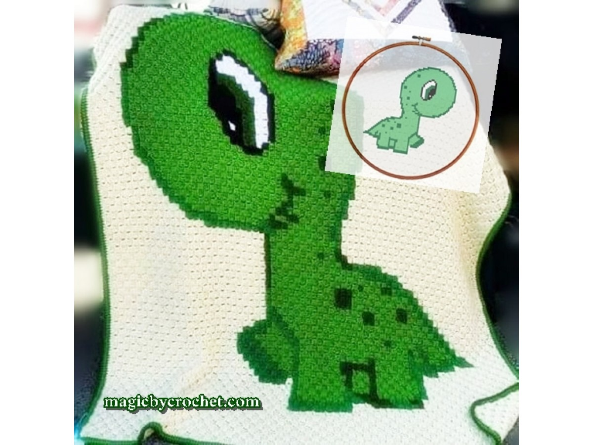 Baby Animal, Dino, PDF, Instant download, C2C crochet, Graph, Corner to corner, Chart, Pattern, No.125