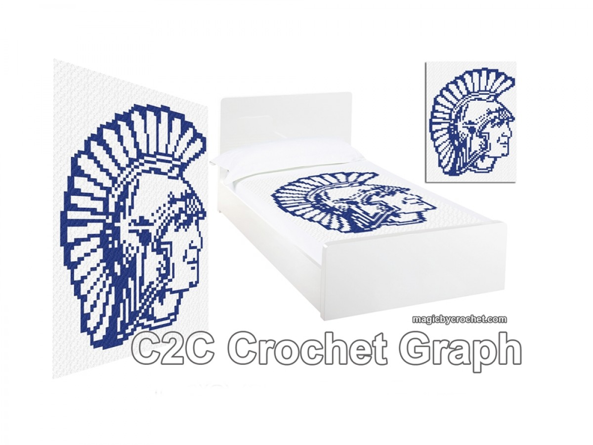 Centurion - C2C crochet Graph, Spartan pattern, Pdf Chart, Instant Download, No.400