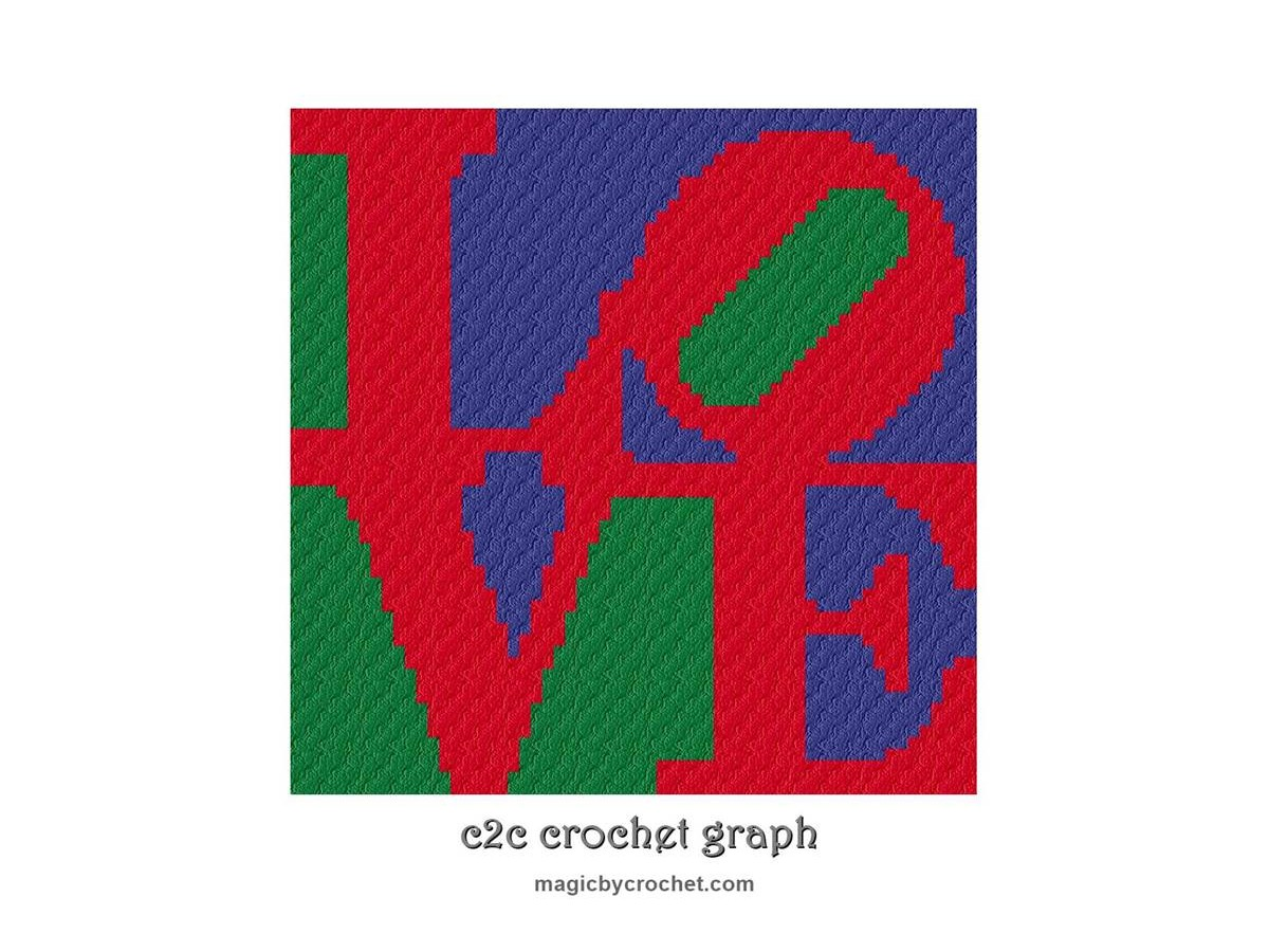 Instant download, Love, c2c crochet graph, cross stitch pattern, no 503