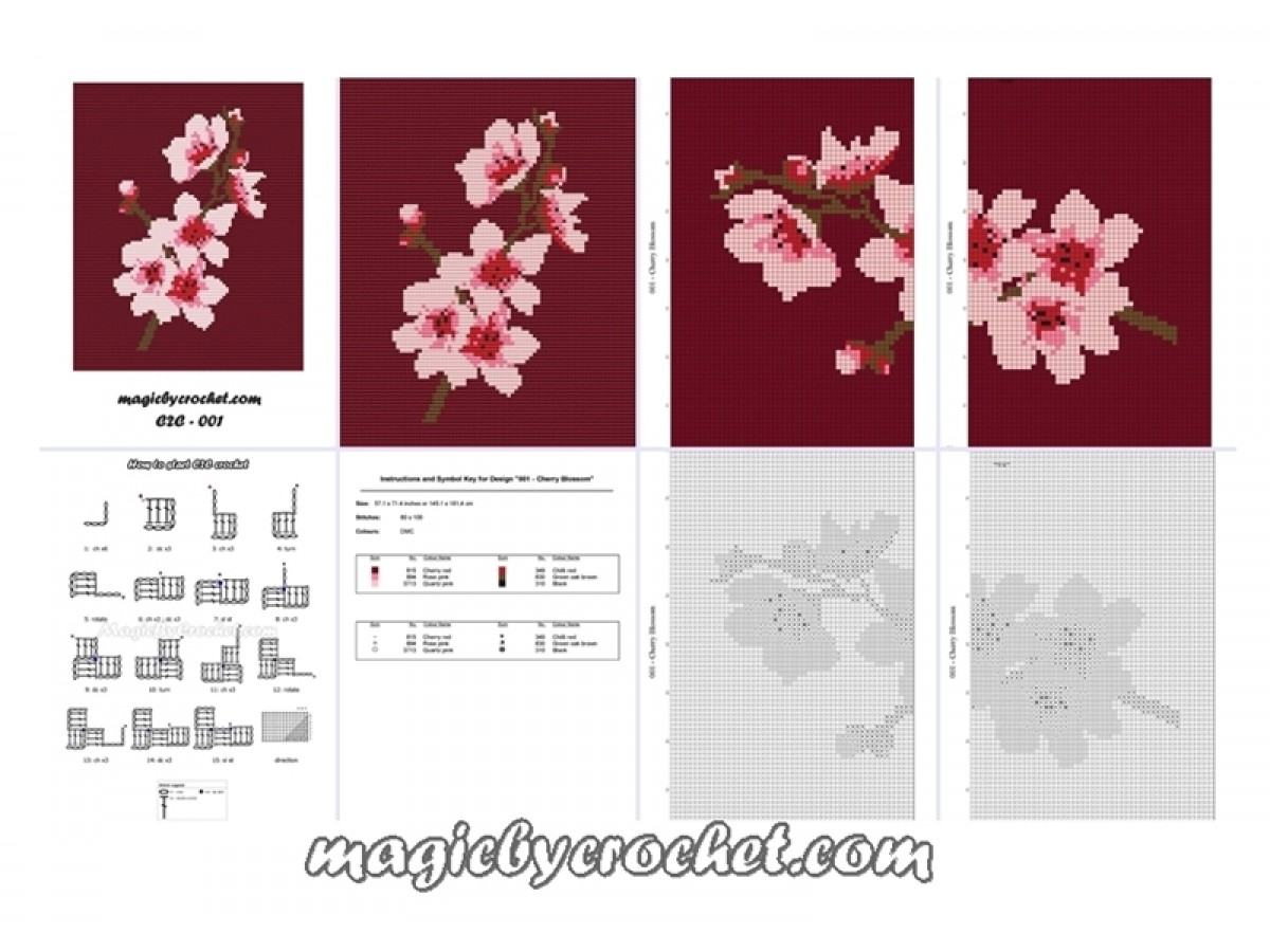 C2C Crochet Graph, Cherry Blossom Graph, C2C Chart, Instant Download, No 001