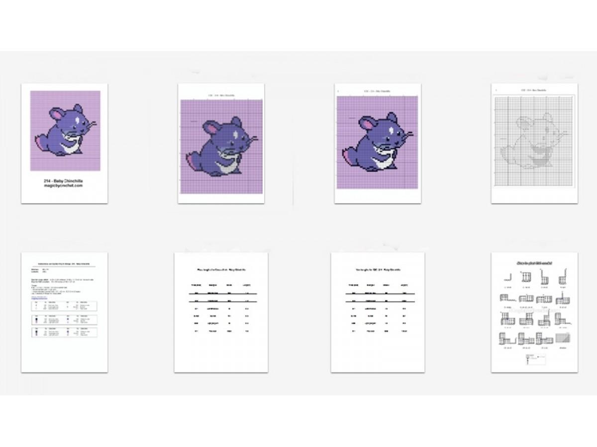Baby Chinchilla, C2C Crochet Graph / Cross stitch, PDF Chart, No.214