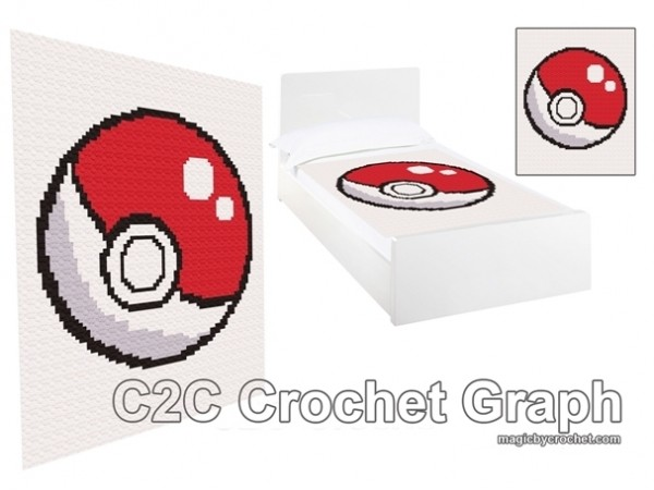 C2C crochet Graph, Pokeball PDF Chart, Instant Download, No.004