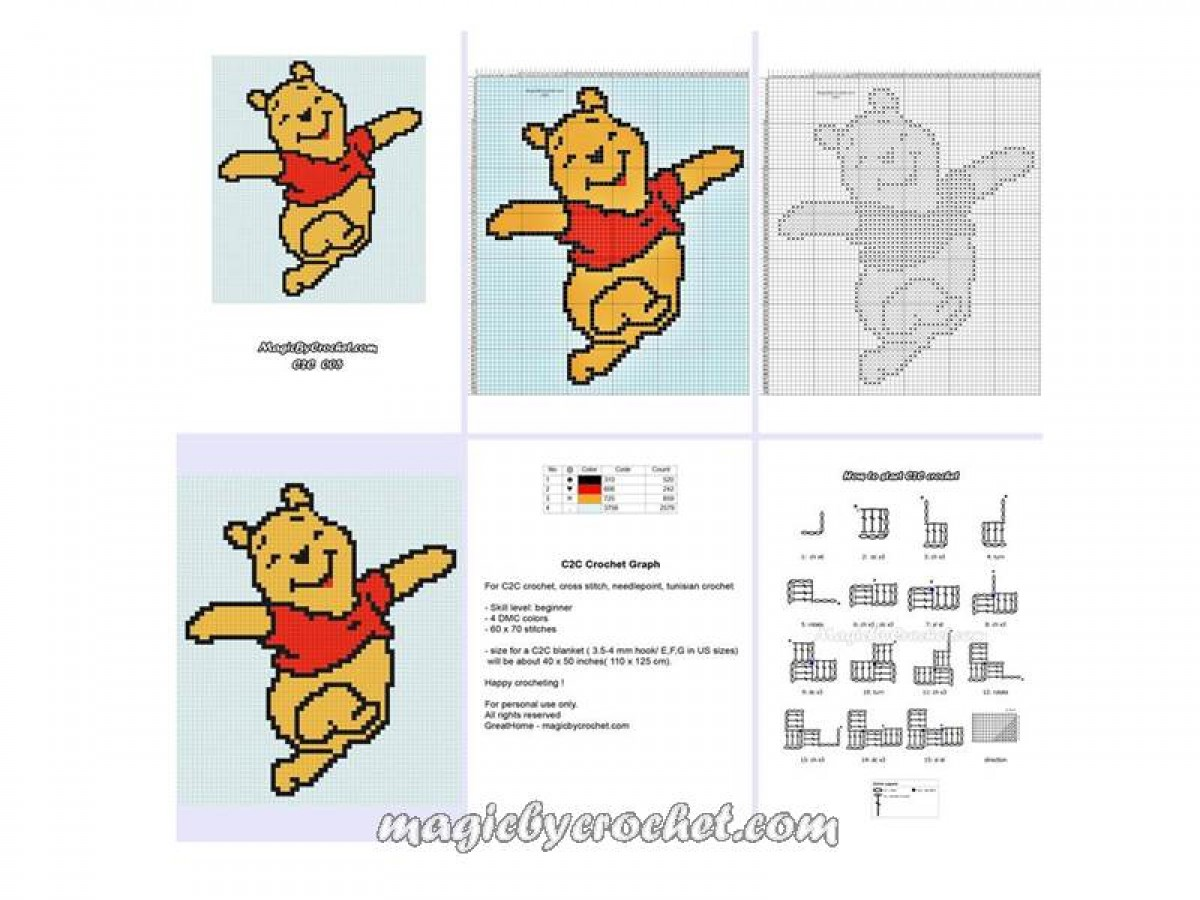 Winnie the Pooh PDF Chart, C2C crochet Graph, Instant Download, No.005
