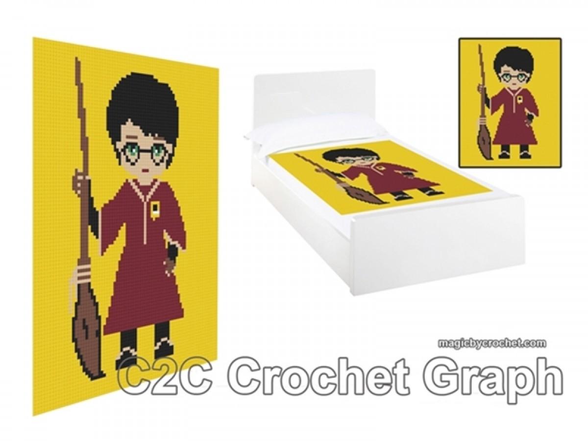 C2C crochet Graph, Harry Potter PDF Chart, Instant Download, No.006