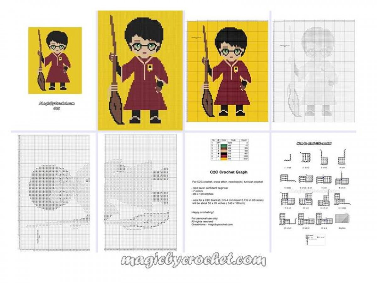 C2C crochet Graph, Harry Potter PDF Chart, Instant Download, No.006