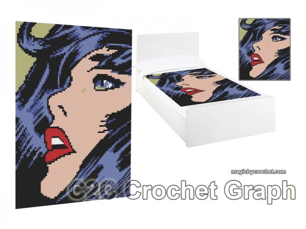 C2C Crochet Graph, Pop Art Graph, C2C Chart, Pop Art Poster, Instant Download, No.020