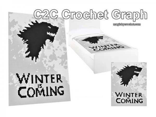C2C Crochet Graph, Winter is coming, C2C Chart, Instant Download, No.021